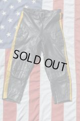 MKS GREAT BRITAIN VTG MOTOCROSS LETHER PANTS BLACK×YELLOW M