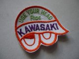 USE YOUR HEAD RIDE KAWASAKI VINTAGE PATCH