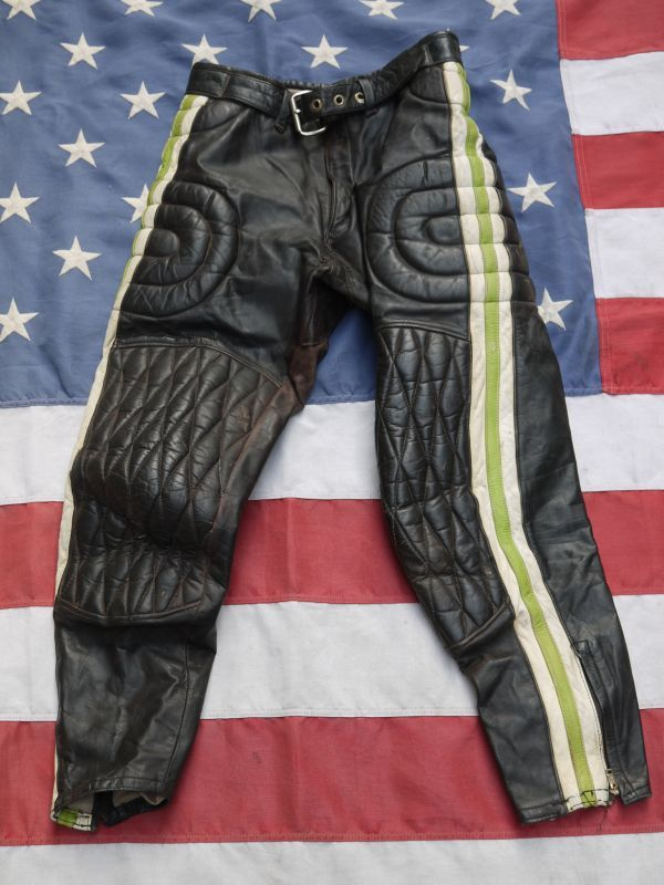 Kawasaki Vintage Motocross Lether Pants 30 Sixhelmets