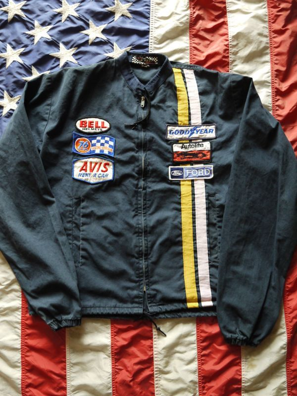 Bell Racing Helmets >> GOODYEAR DEWAN VINTAGE RACING JACKET NAVY PATCHES CUSTOM M ...