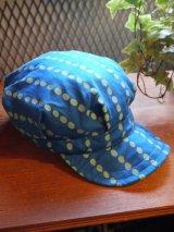 sixhelmets handpaint dot work cap blue×skyblue