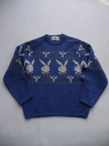 PLAYBOY VTG RABBIT HEAD LOGO KNITWEAR BLUE SMALL