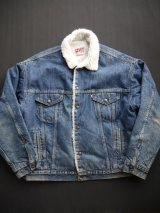 80's LEVIS DENIM BOA JACKET L BLUE(2)