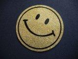 VTG SMILE GLITTER STICKER GOLD