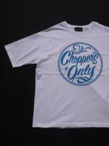 SIXHELMETS CHOPPERS ONLY OVER SIZE POCKET T-SHIRT WHITExSKY BLUE