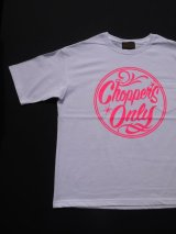 SIXHELMETS CHOPPERS ONLY OVER SIZE POCKET T-SHIRT WHITExNEON PINK