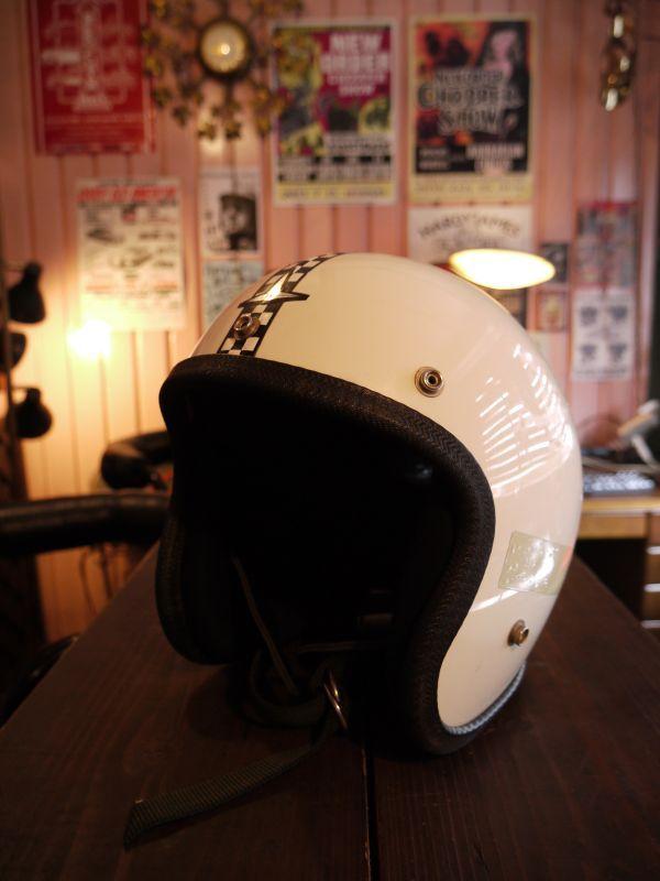 Sears Buco Enduro Vintage Helmet White Checker Line Ml