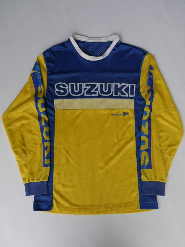 Suzuki Rm Vintage Motocross Shirt Yellow 215 Blue S
